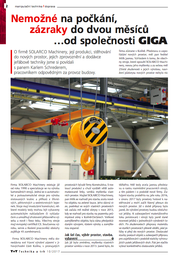GIGA Cranes for SOLARCO Machinery