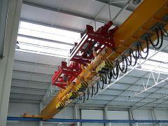Mostové žeriavy GIGA - mostový žeriav jednonosníkový, s konzolovým kladkostrojom, s lanovou stabilizáciou na magnetovej traverze